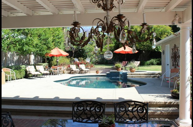 View of the pool from the outdoor dining room